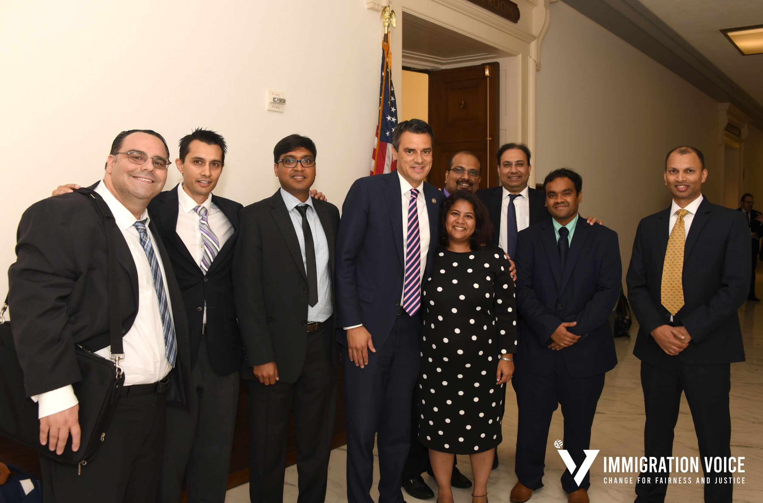 Congressman Yoder posing with members of Immigration Voice members after adding the Fairness Bill to DHS Appropriations